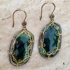 Emerald, 14KGF and Sterling Silver Earrings