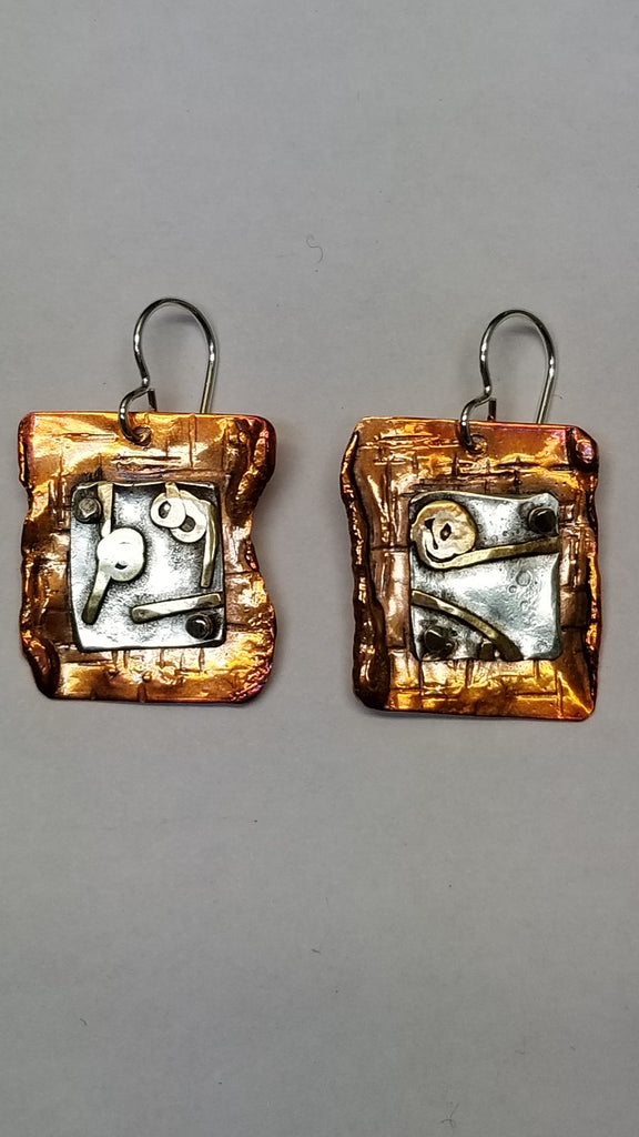 'Merge with the Earth' Unapologetically Rugged Sterling and Copper Earrings