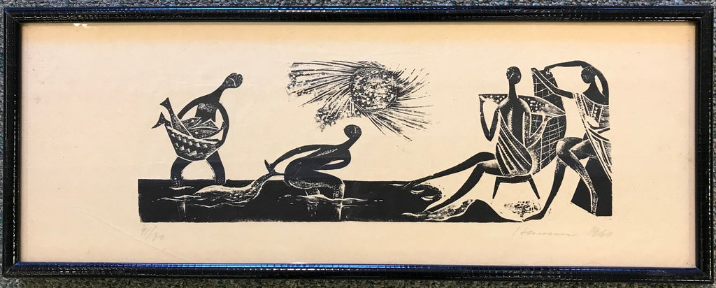Tribal Fishing ca. 1950 Woodcut