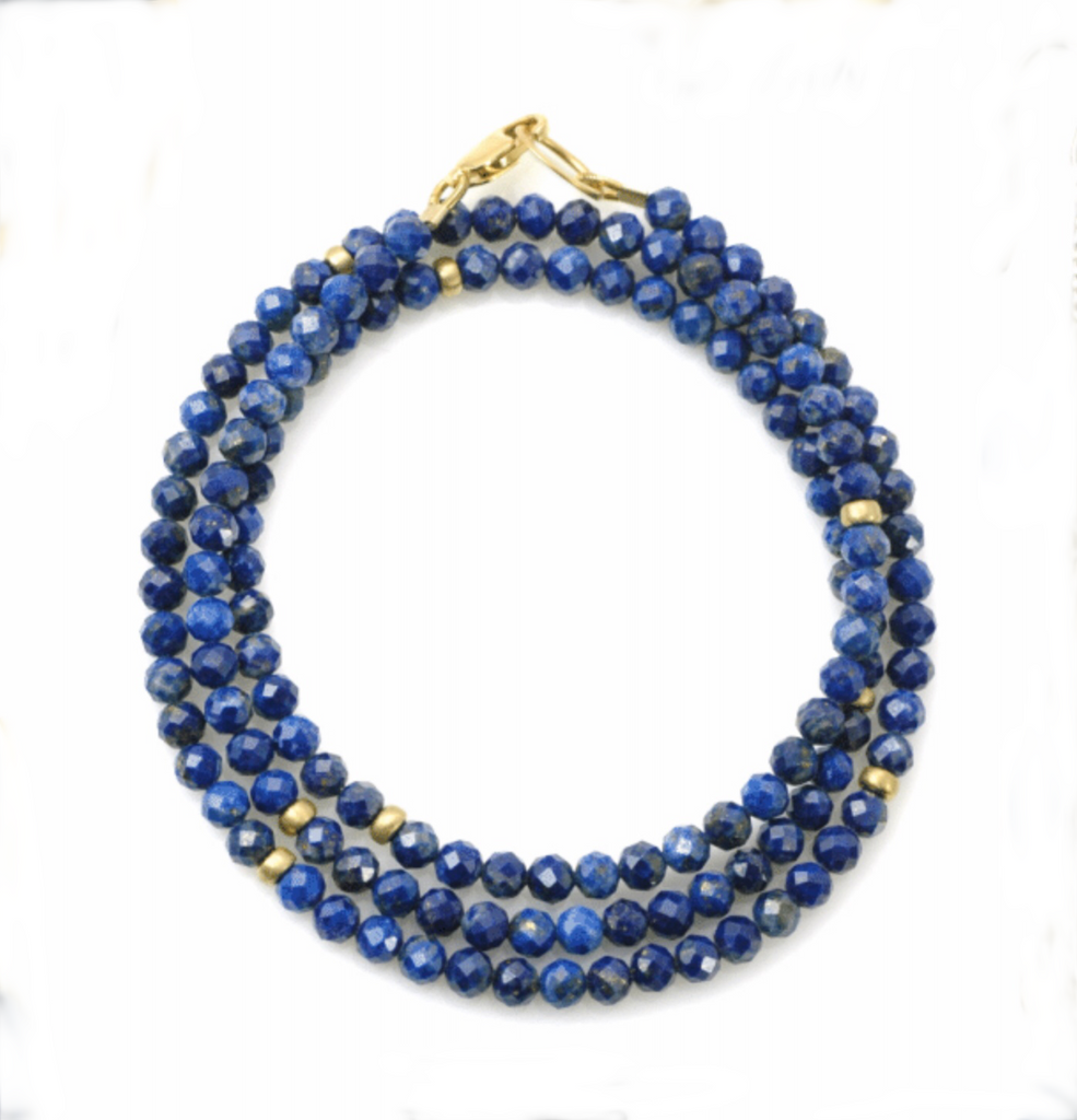 Lapis triple wrap bracelet and necklace in one