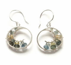 Sterling spiral earrings with semi precious stones