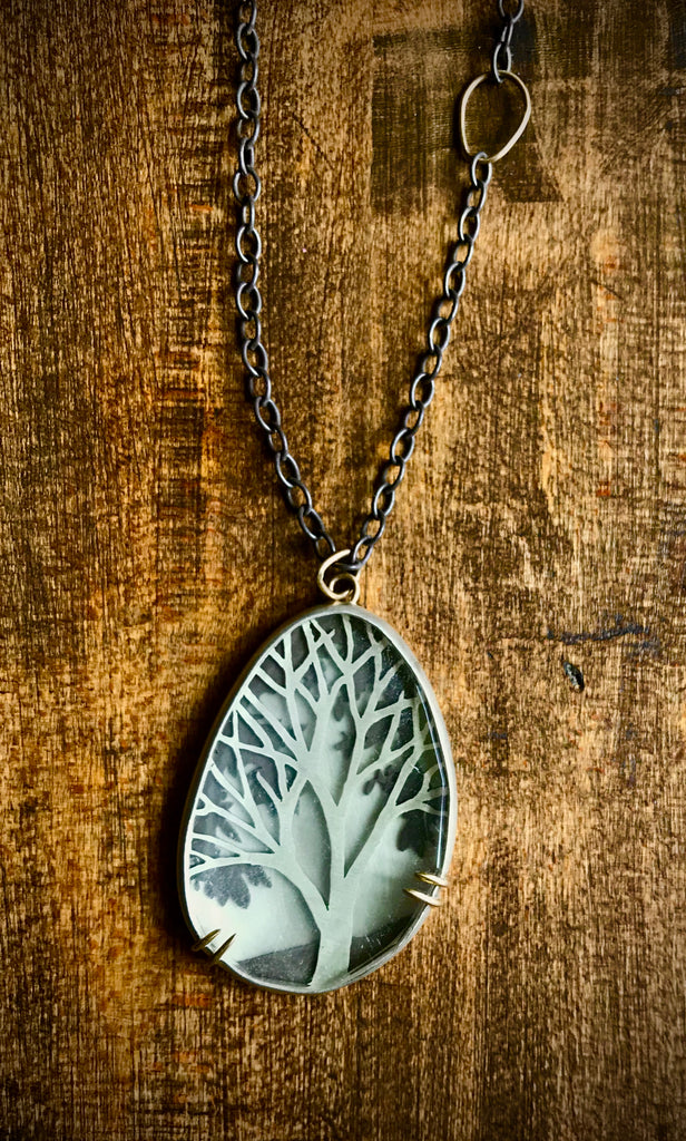OOAK Encased Tree of Life Sterling and Crystal Necklace