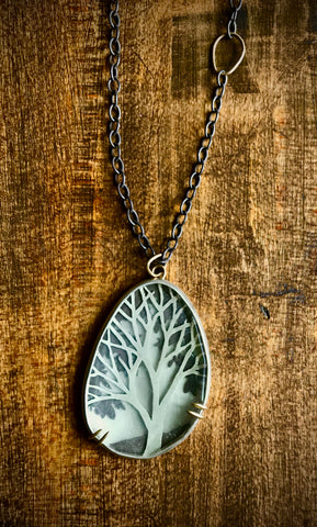 Tree of Life Sterling and Crystal Necklace