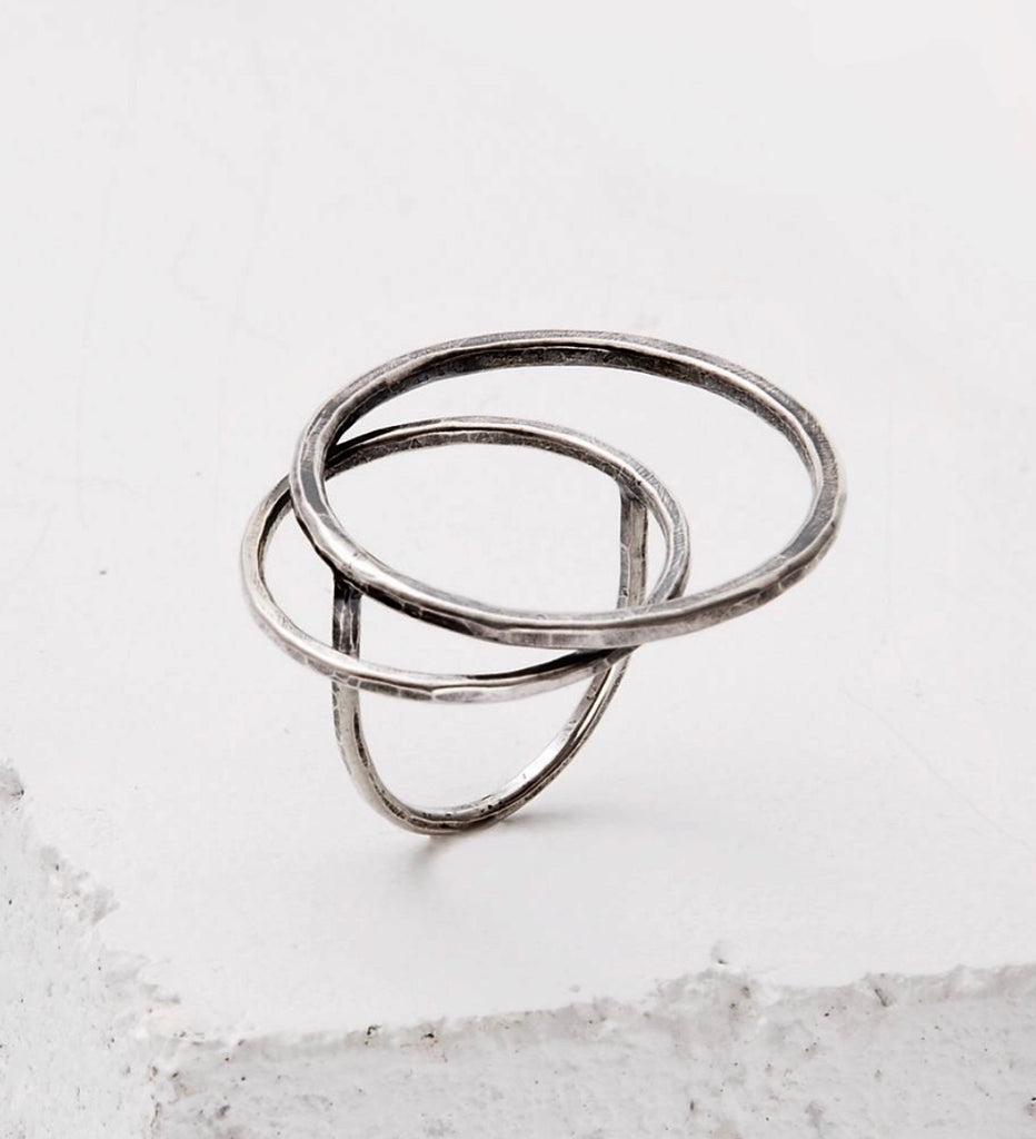 "Sculptural sterling ""OH"" Ring"