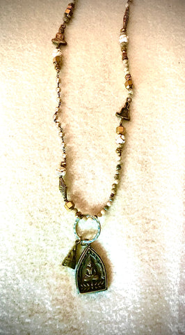 Buddha Necklace of bronze, jasper, pearl and sterling silver