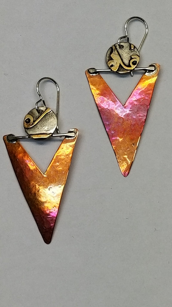 Sterling abstract Mixed Metal earrings