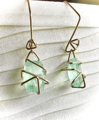 Polished Fluorite Crystal and Sterling  earrings