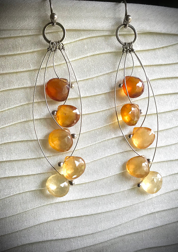 Hessonite garnet and sterling earrings