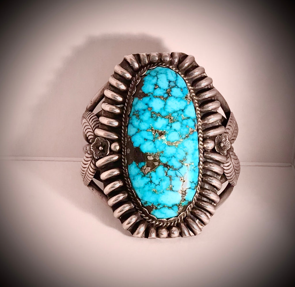 Museum Piece:  Navajo Antique Turquoise in Sterling Bracelet