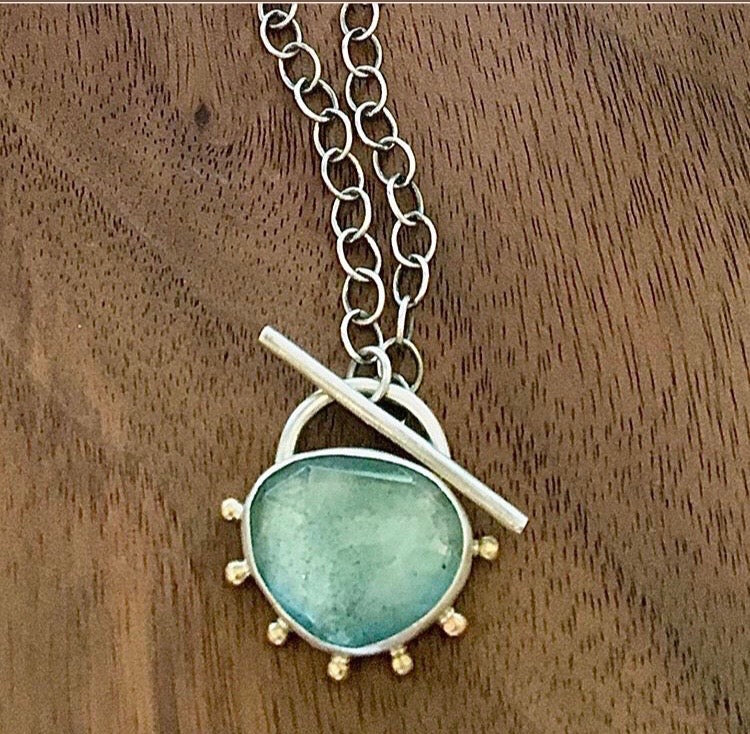 Moss Aqua 14K Gold & Sterling Toggle Necklace