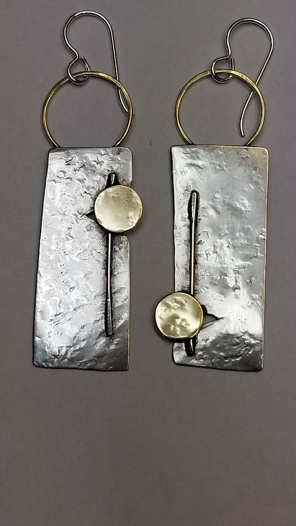 Floating Discs Sterling and mixed metal earrings