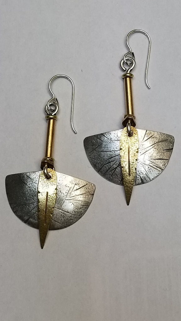Sterling, brass and copper earrings