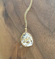 Wrapped Herkimer Diamond Pendant Necklace