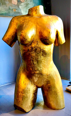 Hand Carved  Sculpture of Female Torso finished in  22K gold Leaf