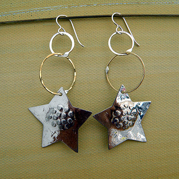 Silver Star Earrings by Sue Roggio