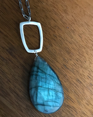 Large Labradorite & Sterling Rectangle Necklace