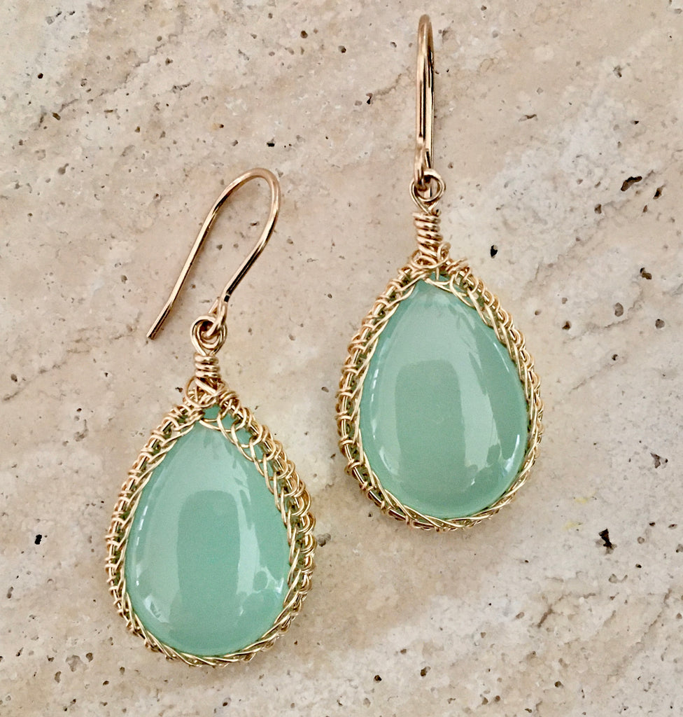 Milky Chalcedony and 14KGF Earrings