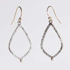 Textured Teardrop Hoops in 14k Gold & Silver