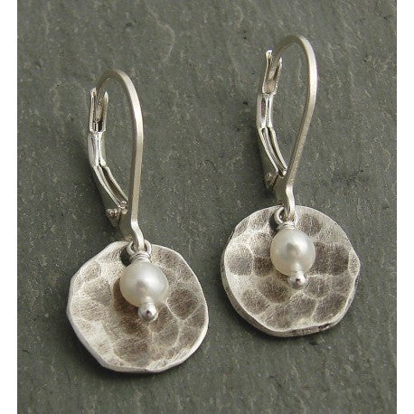Hammered Sterling and Pearl Earrings by Ian Gibson