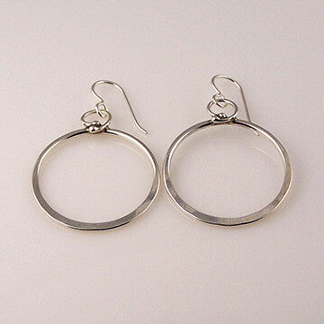 Sterling abstracted hoop earrings by Sue Roggio