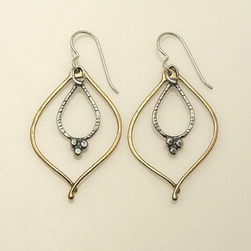 Sterling and bronze dangle earrings by Sue Roggio