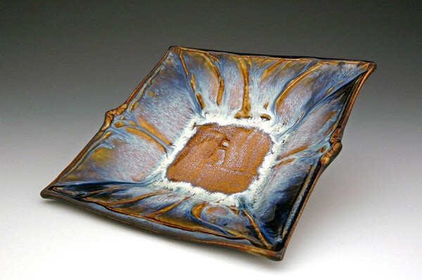 Ceramic Serving Platter in brown and blue glazes by Bill Campbell