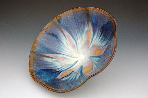 Ceramic Serving Bowl in brown and blue glaze by Bill Campbell
