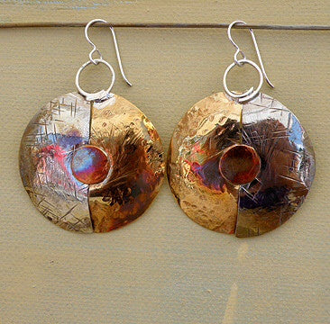 Sterling bronze and copper mixed metal disk earrings by Sue Roggio