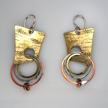 Sterling, copper and brass abstract hoop earrings by Sue Roggio
