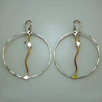 Sterling and Brass abstract hoop earrings by Sue Roggio