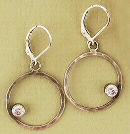 Handmade Sterling and Colored CZ hoop earring by Ian Gibson