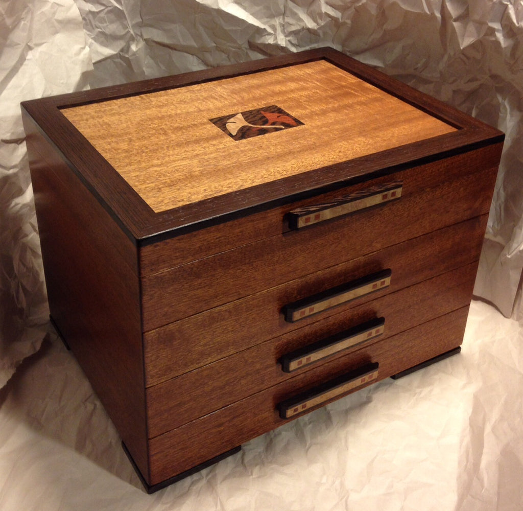 Wooden jewelry box of cherry bubinga by michael fisher for Jewelry box made of wood