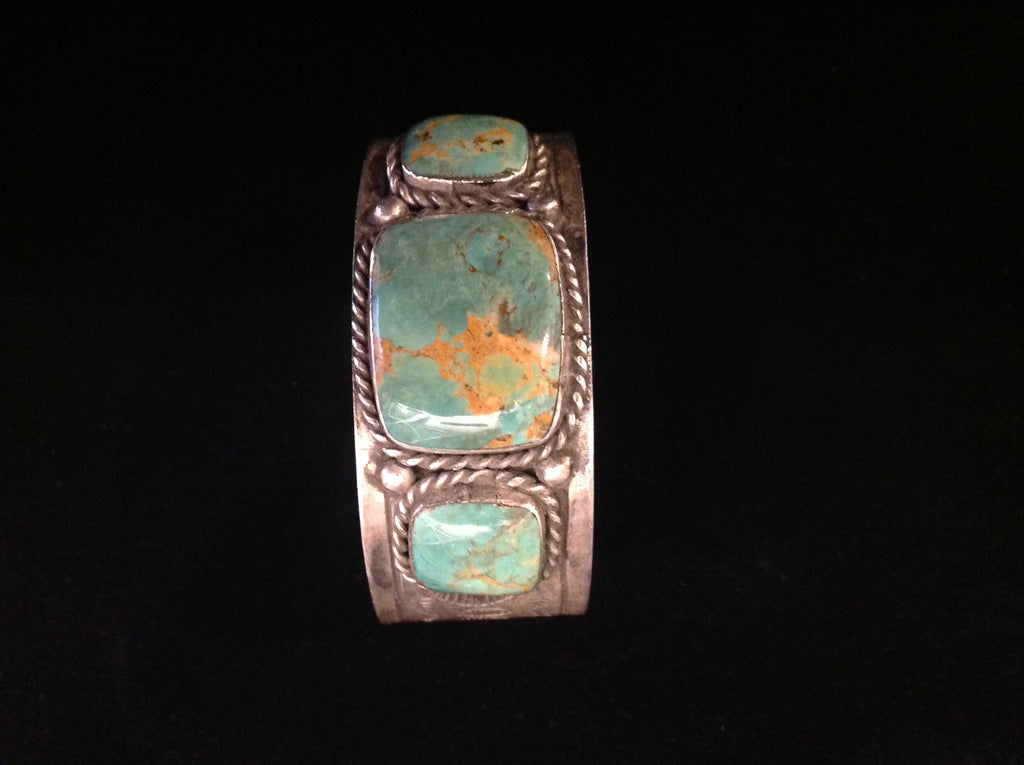 Vintage turquoise and sterling cuff bracelet by Fred Weekoty