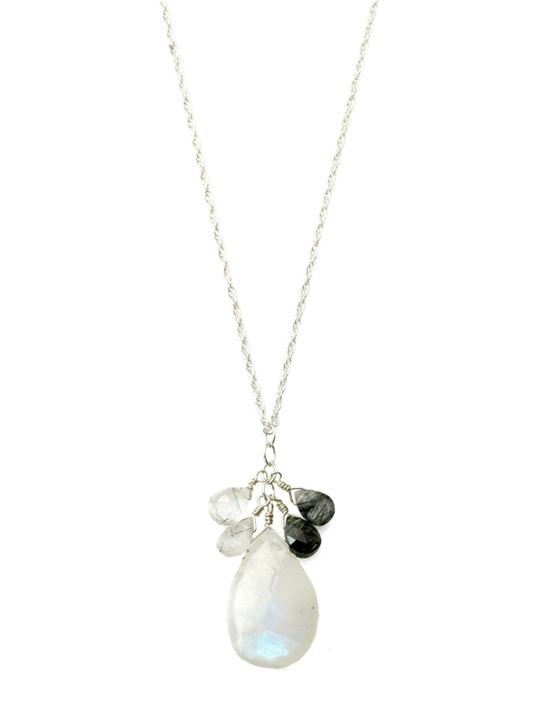 Moonstone & Tourmilated Quartz Cluster Sterling Necklace
