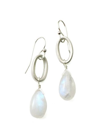 Sterling Oval with Moonstone Earrings