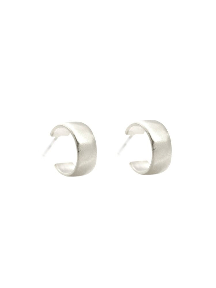 Thick Hoop Earrings in Brushed Sterling Silver