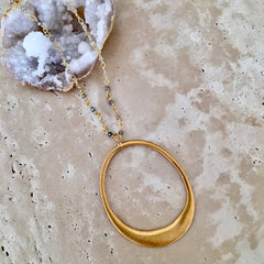 Large Vermeil Circle on Zircon Chain Necklace