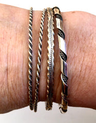 Navajo Thin Sterling Bangle Bracelets