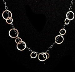 Sterling Circles Necklace 24""