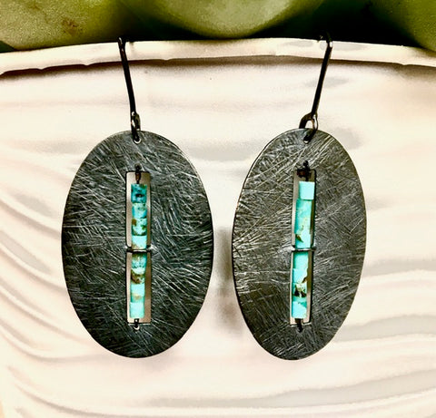 Oxidized Sterling Oval Earring & Turquoise