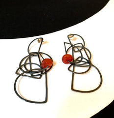 "Half Circle ""Tangle"" Earrings in Oxidized Sterling"