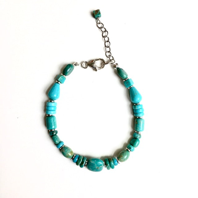 Handmade Mixed Turquoise Bracelet with Silver Accents