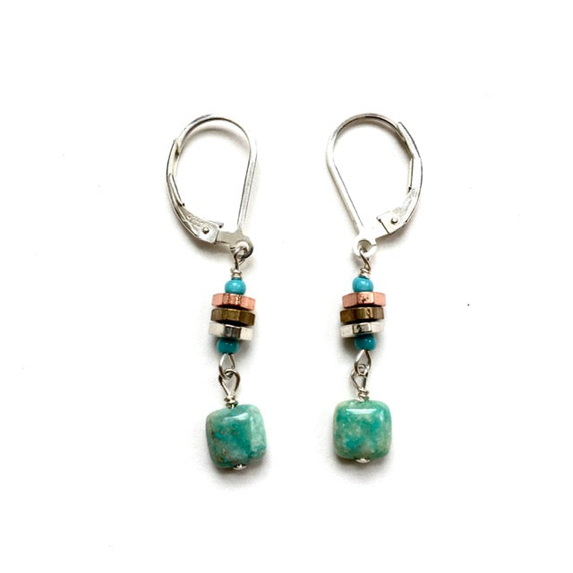 Handmade Earrings with Turquoise Dangles