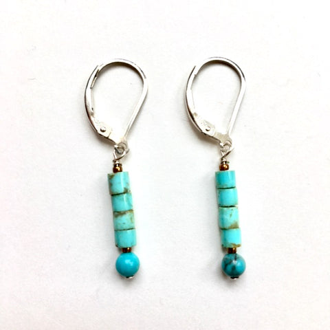 Handmade Silver & Multi-Colored Turquoise Earrings