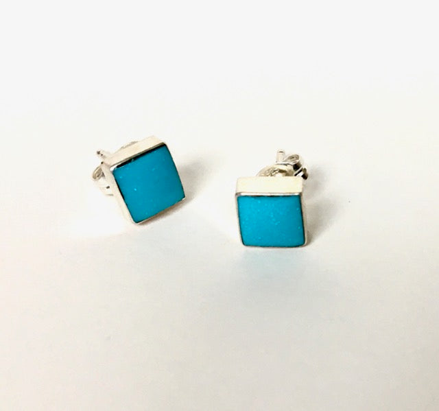 Navajo Sterling & Turquoise Square Stud Earrings