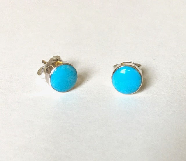 Navajo Sterling & Turquoise Circle Stud Earrings
