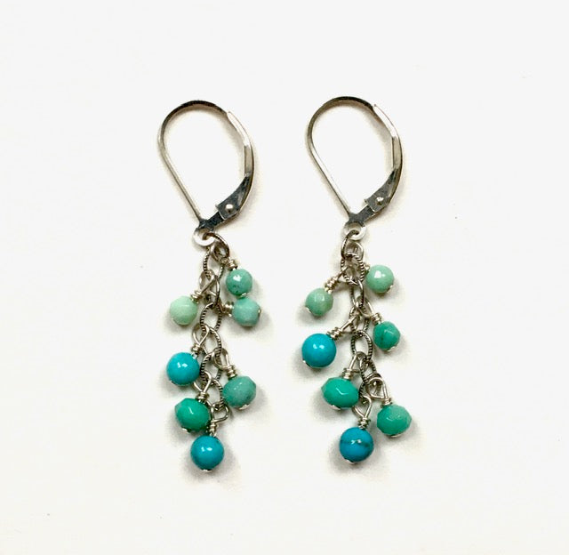 Handmade Sterling Dangle Earrings with Turquoise Drops