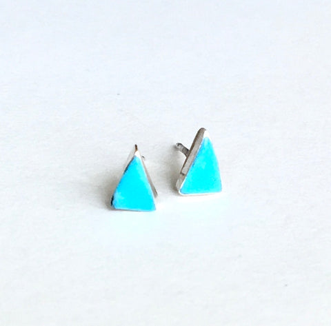Navajo Sterling & Turquoise Triangle Stud Earrings