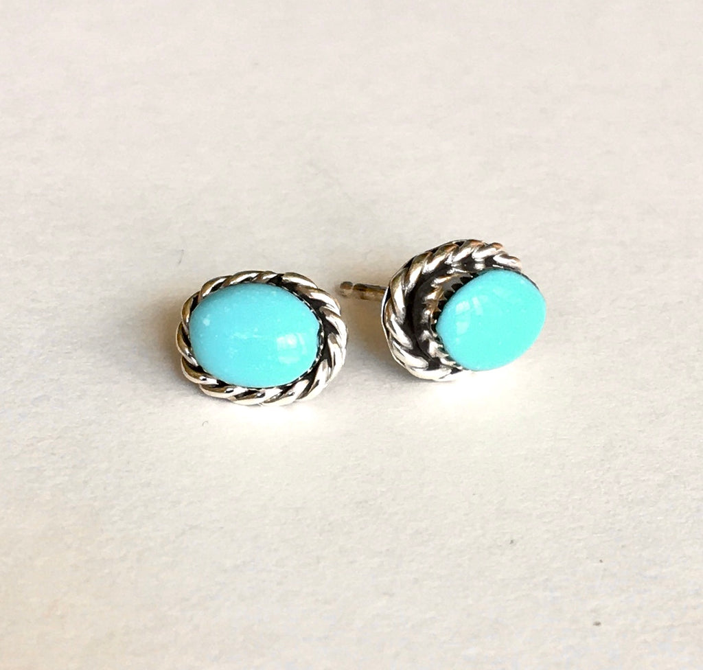 Navajo Sterling & Oval Turquoise Cabochon Stud Earrings