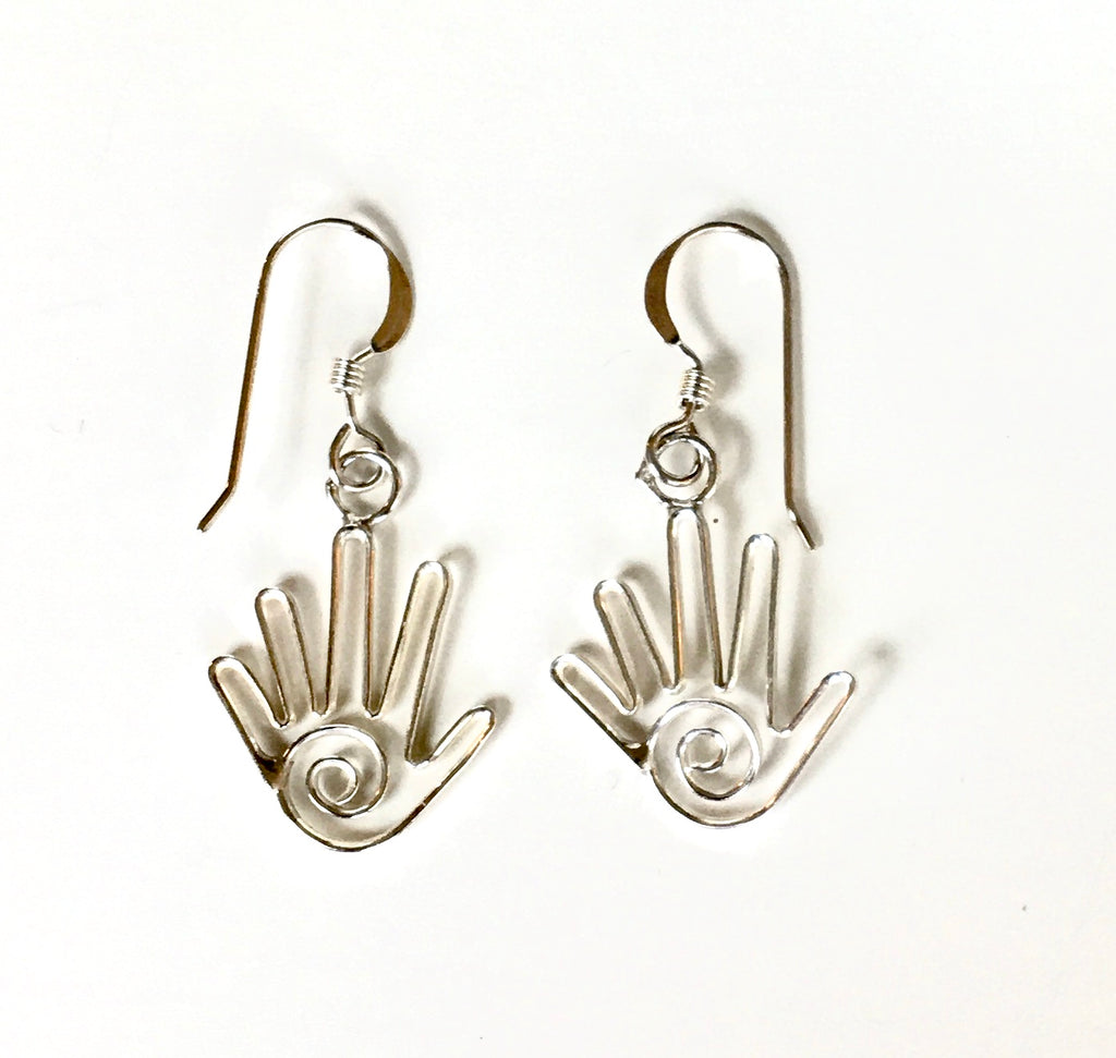 Handmade Navajo Sterling Healer's Hand Earrings